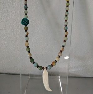 Gemstone Rose Feather necklace